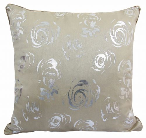 STUNNING MATALLIC FLORAL FAUX SILK FILLED CUSHION NATURAL LATTE COLOUR